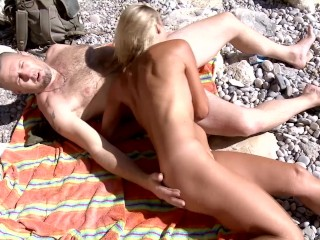 Big Booty Blonde Gets Rough Double Penetration On The Beach.