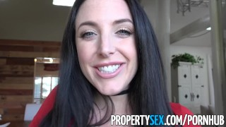 PropertySex - Sex addict tenant with big tits fucks landlord Natural brunette