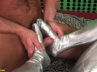 busty milf lucy love rough anal fucked in silver spandex catsuit