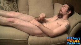 Bearded straight guy unleashing his load after a jerk off