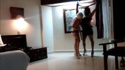 Beauty teen femdom bumping her sexy mature crossdresser in BDSM sex