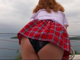 Ginger Schoolgirl Cheerleader Seaside Dance  Redheaded Girl Solo Dancing