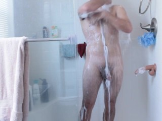 Sexy young tattooed marine gets soapy shower masked...