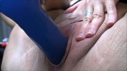 Chastity fucks her big blue toy close up