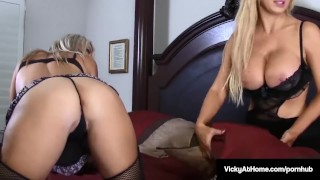 Busty VNA Commander Vicky Vette Dildo Bangs With Nikki Benz! Big tan