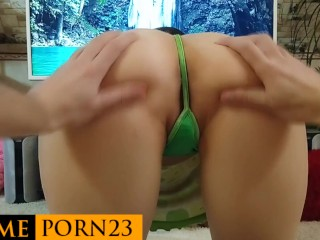 Teen in stockings gets cum in pussy