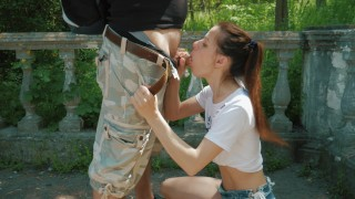 First time messy blowjob outdoor and swallow cum! Wife view