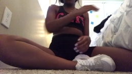 Ebony squirts after the gym