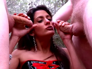 Big Tit Latina Hooker Takes Two Big Dicks In The Forrest