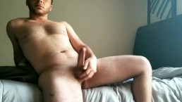 hung guy jerks off perfect thick cock and cums