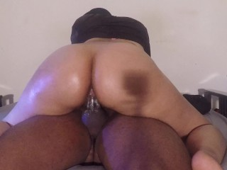 SHY BABYSITTER RIDES WILD AND CREMES ON DICK