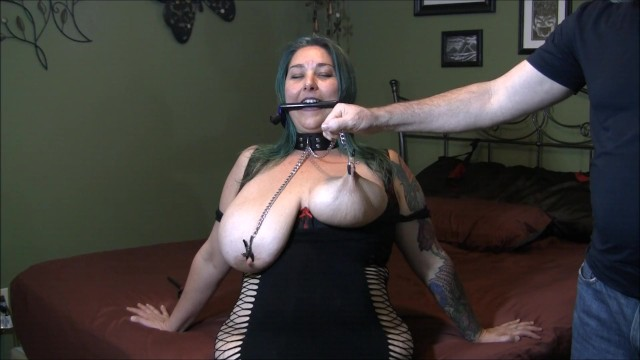 Breast ripper torture Chastity wears a bridle collar and nip clamps having her tits tortured