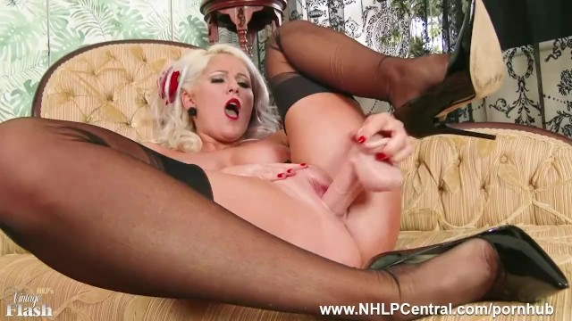 Amy lu strips Busty blonde lu elissa strips off retro red lingerie toys pussy in nylons