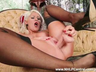 Busty blonde Lu Elissa strips off retro red lingerie toys pussy in nylons