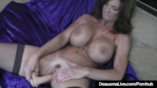 Hot Cougar Deauxma Squirts A Puddle After Dildo Banging Twat Gangbang boobs