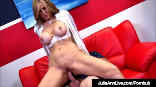 Busty tutoring student bangs her him while milf julia ann licking cock