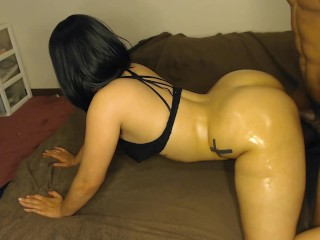 W black hair gets smashed doggy style in...