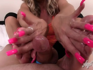 Angel Kissed Feet – MILF Gets Cummy Feet from HandJob FootJob Combination