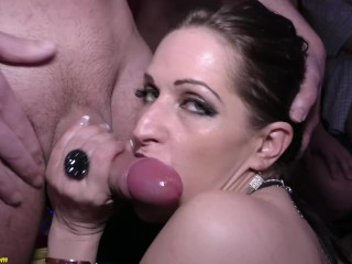 Extreme milf gets fucked at our gangbang paty...