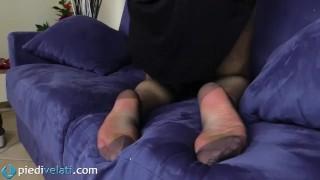 Toes reinforced feet in pantyhose black brunette kink stockings