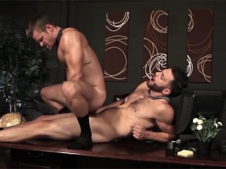 Men.com - Two hot ripped hunks in suits having sex in office