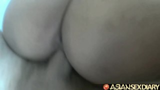 Asian Sex Diary - Filipina cutie gets furry pussy creampied Blonde shaved