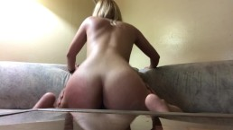 Busty blonde rides cock before work while smash bros plays in the back