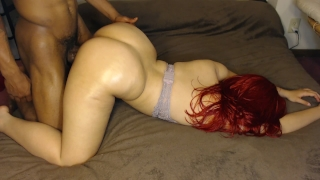 Thick light skin chick gets smashed face down ass up, huge bubble butt!