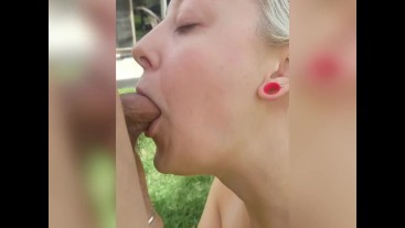 Sexy Teen milf deep throats and fucked doggy outside