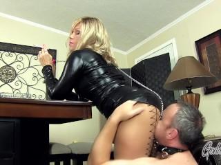 My Hot Ass - Goddess Nikki Smokes While Her House slave Worships Her Ass