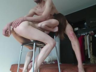 Strange stranger sex Ep. 6: chair dildo fuck, vape and shaking orgasm