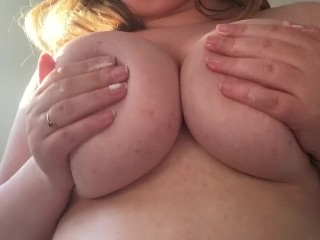 Playing with my big natural tits