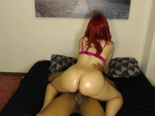 Thick chick with purple bra loves riding dick & getting cummed inside!