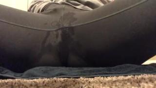 Babe Squirting Through Grey Leggings