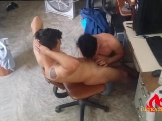 Tattoo straight latin boy being sucked after massage...