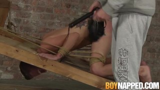 Dommed twink restrained and rammed without any mercy
