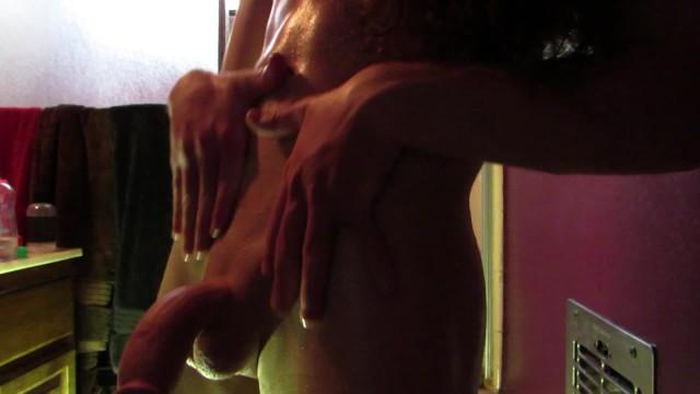 Trans Girl Oils Up Her Body