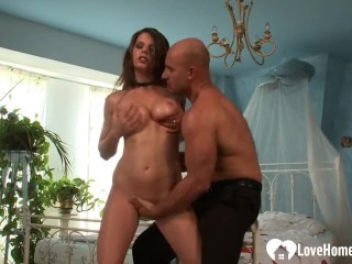 Busty brunette beauty and a baldy are fucking