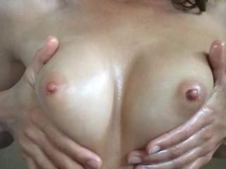 Oiled Up Natural Tits