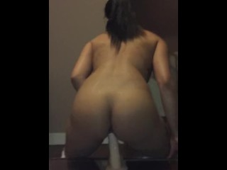 Mya Rides Her White Cock Dildo Toy  For Fan