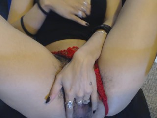 Young Goth Fingers her Wet Hairy Pussy in Red Thong Panties