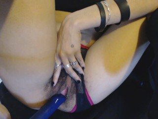 Hairy Pussy Becomes Wet from Dildo Tease through Sheer Panties, Fucks toy
