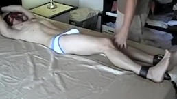 Sexy feet twink blindfolded and restrained for a jerk off
