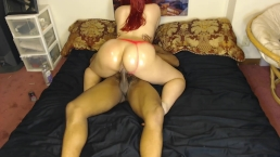 Sexy girl bounces bubble butt in pink panties on BBC while daddy's gone!