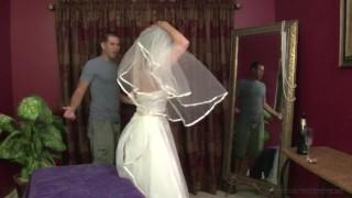 Stepmother Jodi West Fucks son in her wedding dress Oiled anal