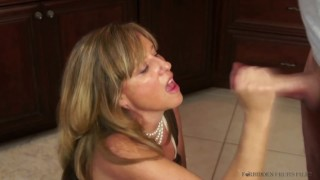Stepmother Jodi West fucks son in kitchen after turning him on!