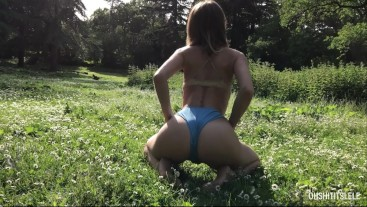 Teasing my BF at the park. Watch me but don't touch! Wish I was your GF?