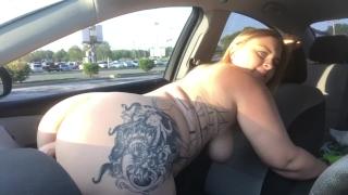 CAUGHT RIDING MY DILDO ON DASHBOARD PUBLIC VIDEO XX Pussy hardcore