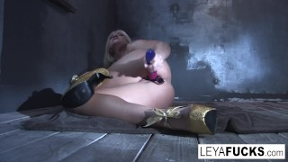 Sticks her falcon sex toys leya in holes both big tits