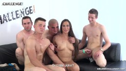 Four horny newcomers try drill pornstar Mea Melone but only two succeed